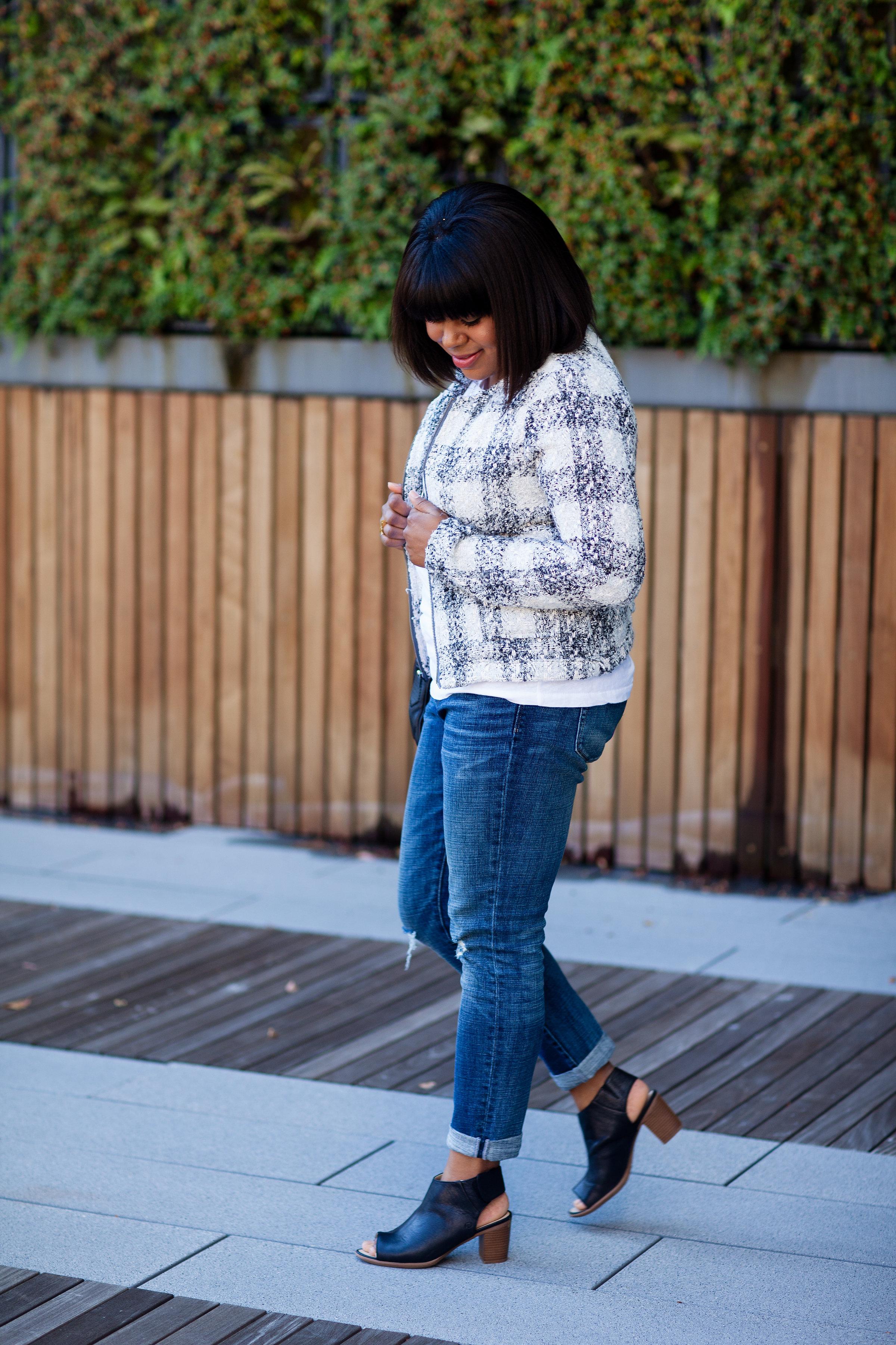 Tweed jacket with jeans.