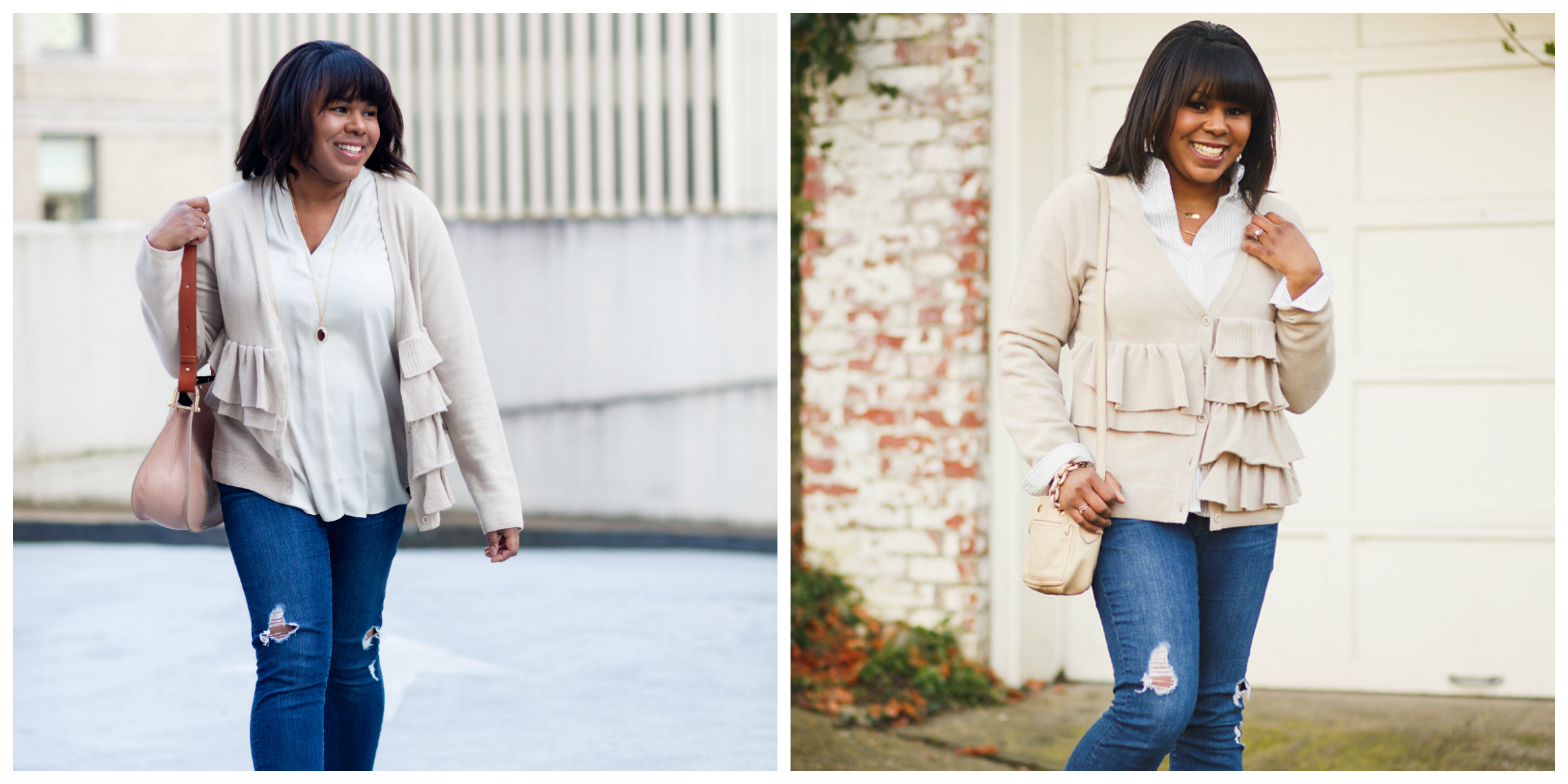 Ruffle sweater worn with distressed jeans.