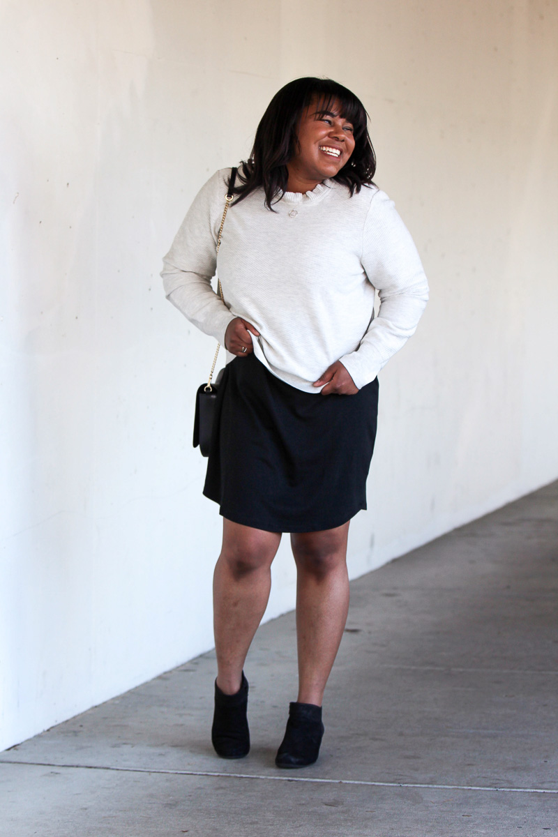 Let's get to the point of today's post - trying something new and taking afashion risk! Even though it was outside of my comfort zone, I styled this dress as a skirt and look how good it turned out.